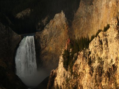 (Example C) Lower Falls of the Yellowstone River, 200mm medium telephoto range, horizontal framing.
