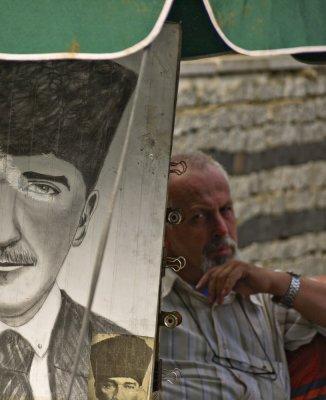 Sidewalk artist, Istanbul, Turkey, 2009
