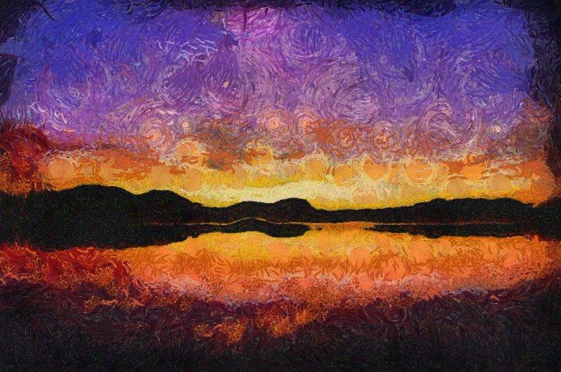 Lakeview Sunset (Orange)