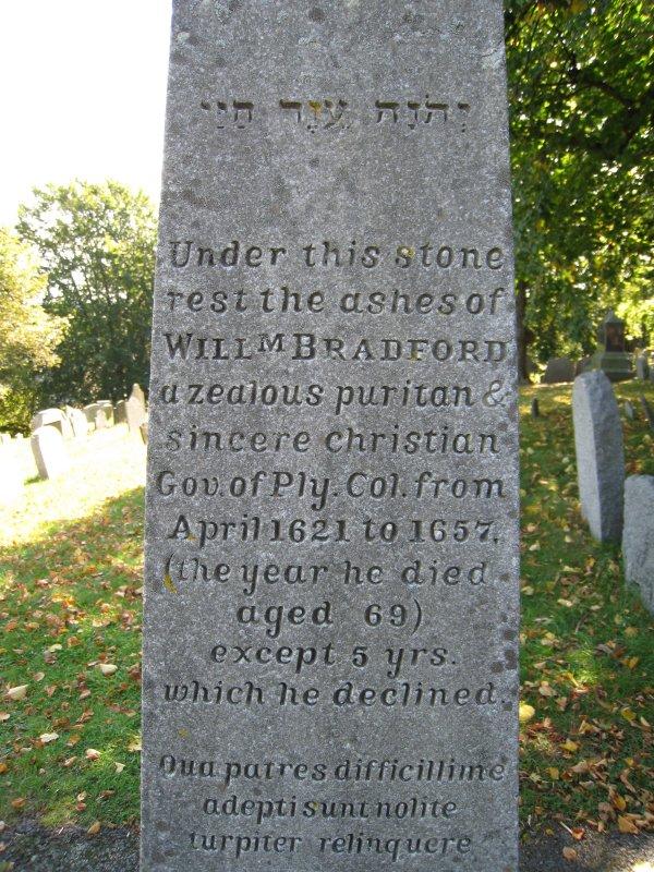 Obelisk for Gov. William Bradford - Burial Hill Cemetery - Plymouth, Mass.