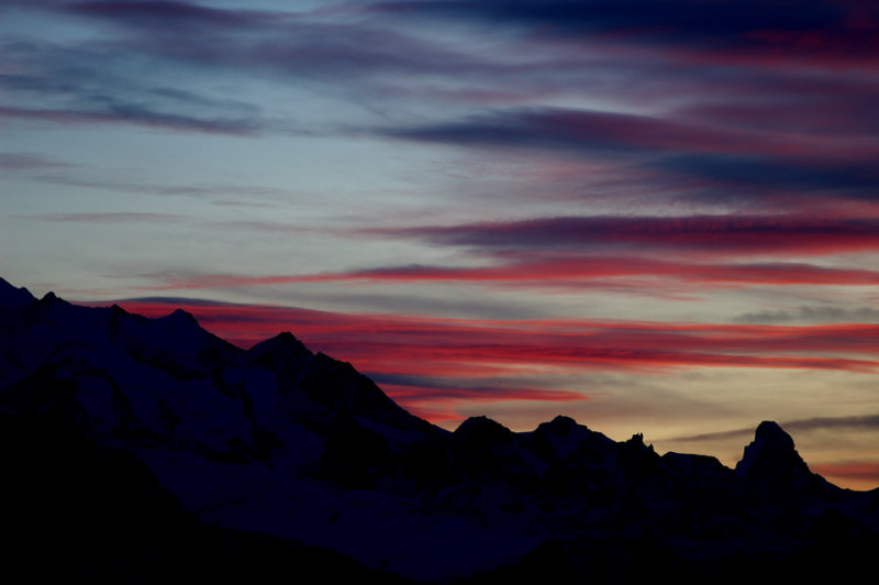 Skyline from Bettmeralp - Cervino/Matterhorn on the right