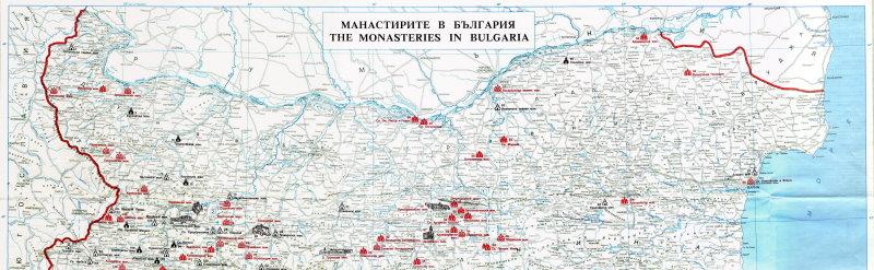 Location of monasteries in northtern Bulgaria