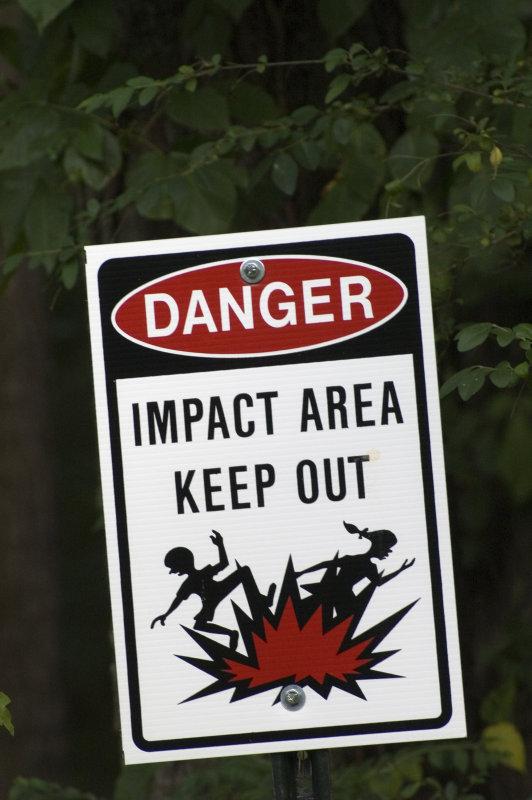 Sign near fence