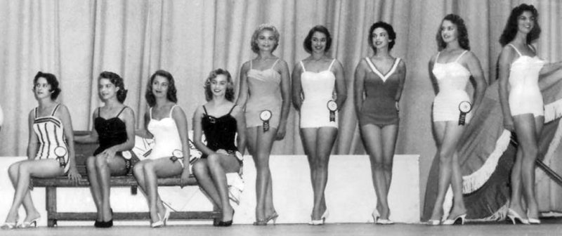 1957 - Miss Florida Pageant - Deanna Briggs 2nd from left - right half of image