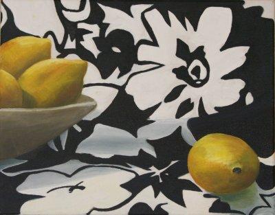 lemons on black and white