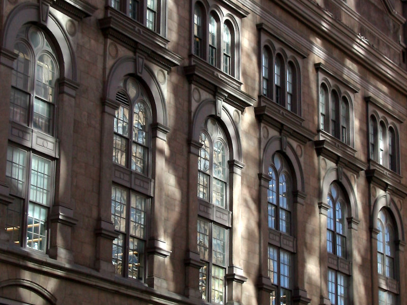 Cooper Union Hall with Glass Tower Building Reflections