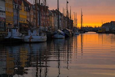 Boats in Nyhavn at sunrise