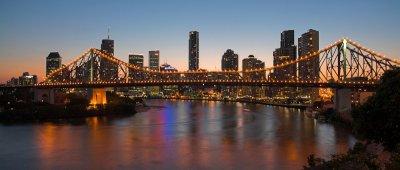 Brisbane and Story Bridge at dusk panorama cityscape