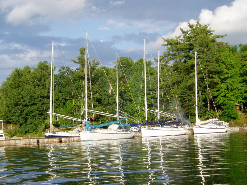 part of the fleet docked at Wellesley Island