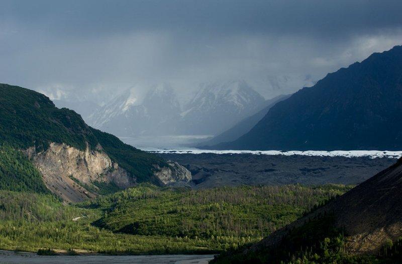 Matanuska Glacier with Rainstorm in the Distance