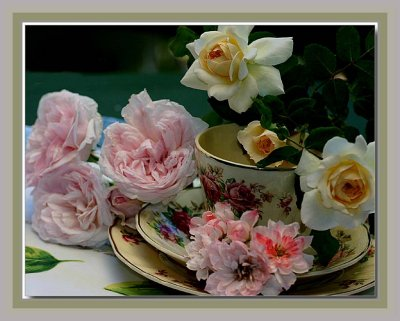 Tea cup and roses