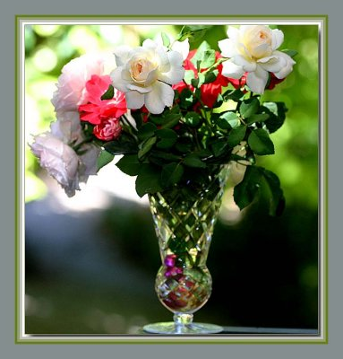 Pinks and creams in a vase