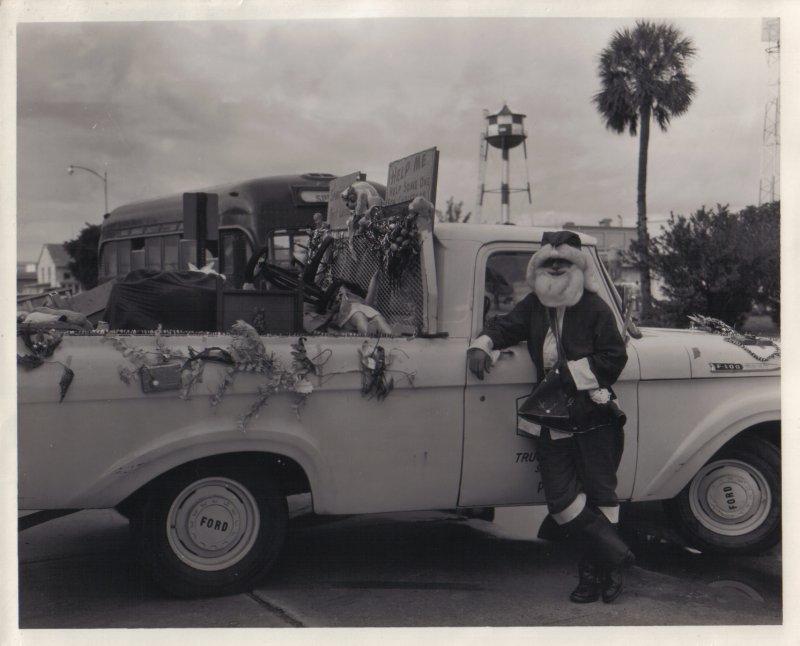 Santa waiting for a ride.