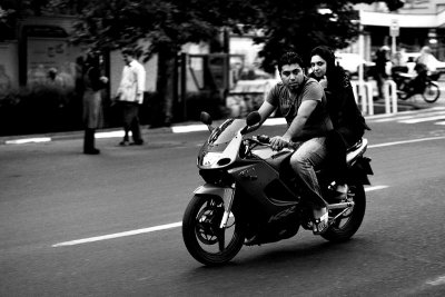 Couple on motorcycle, Tehran