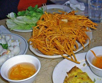 Sweet Potato Shoestring Fries with Shrimp