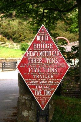 NER Weak Bridge Sign
