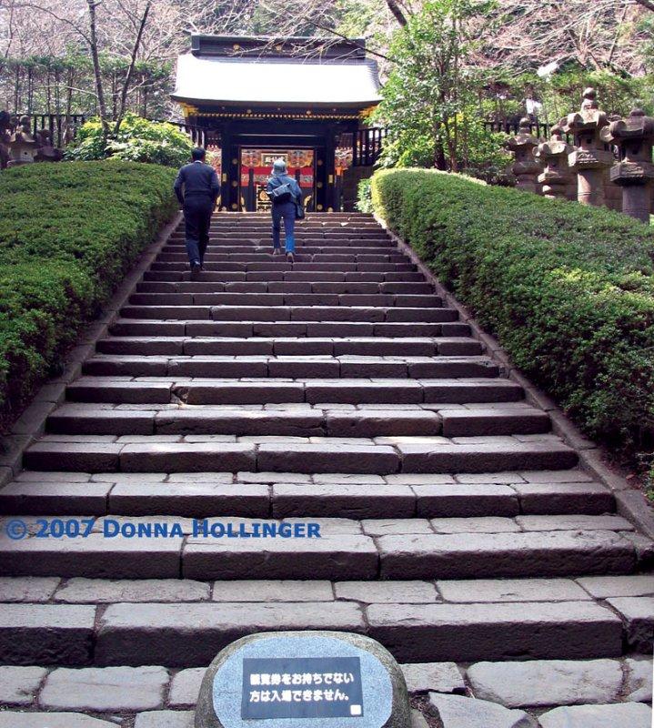 Masashi and Eiko Kosakai Climbing Mausoleum Steps