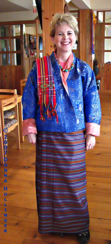 Shelley dressed Bhutanese style