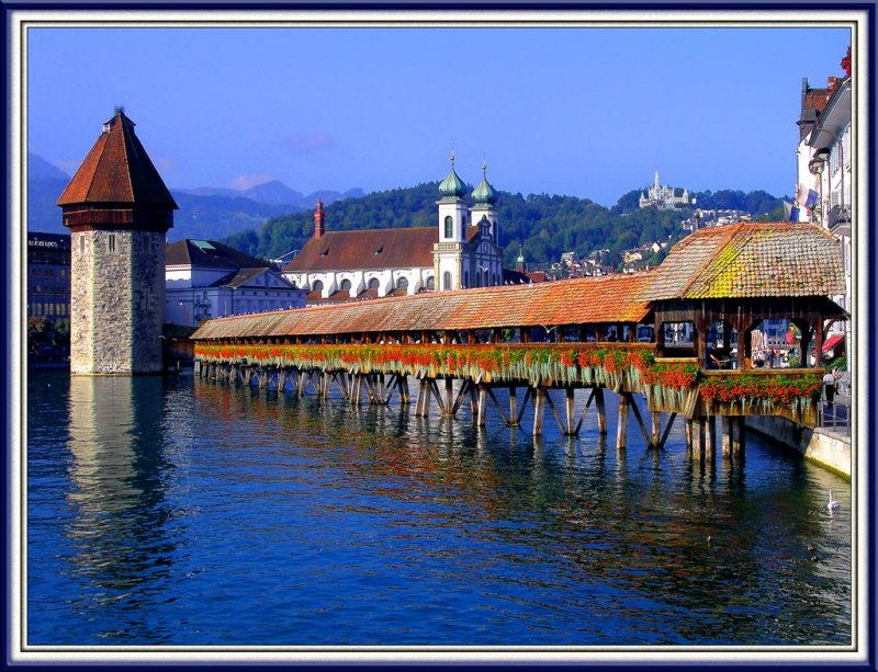Infamous Bridge in Lucerne, Switzerland