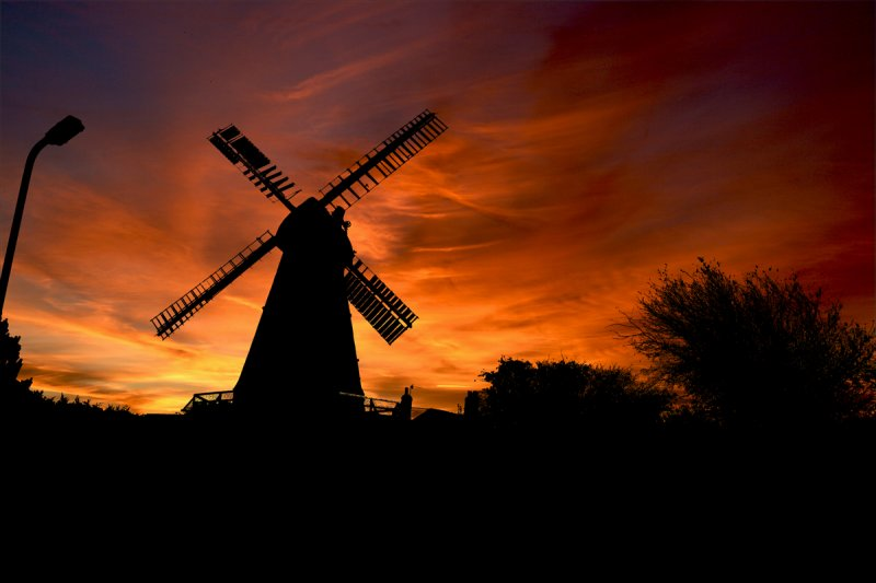 Herne windmill in silhouette