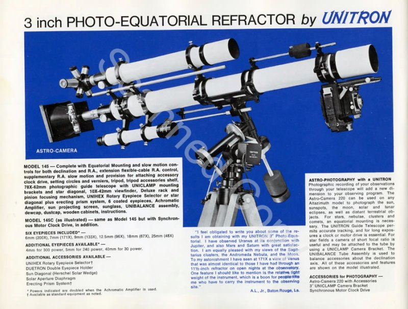 Unitron 3 inch Model #145 Photo-Equatorial