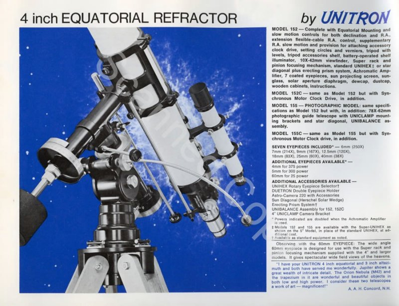Unitron 4 inch Model #152