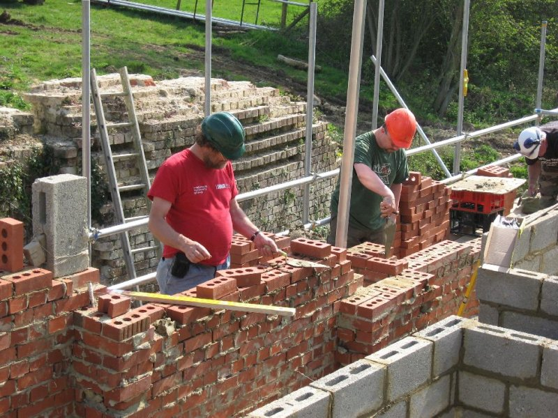 ... and bricklaying in progress