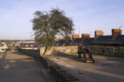 Walkway and houses outside the wall