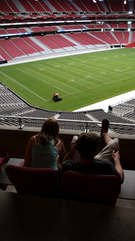 Mowing the lawn, University of Phoenix Stadium, Phoenix, Arizona, 2007