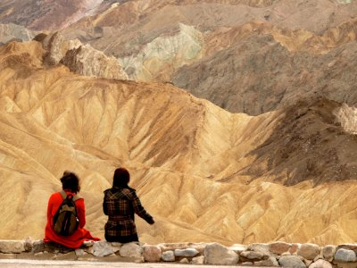 Tourists at Zabriskie Point overlook, Death Valley National Park, California, 2007