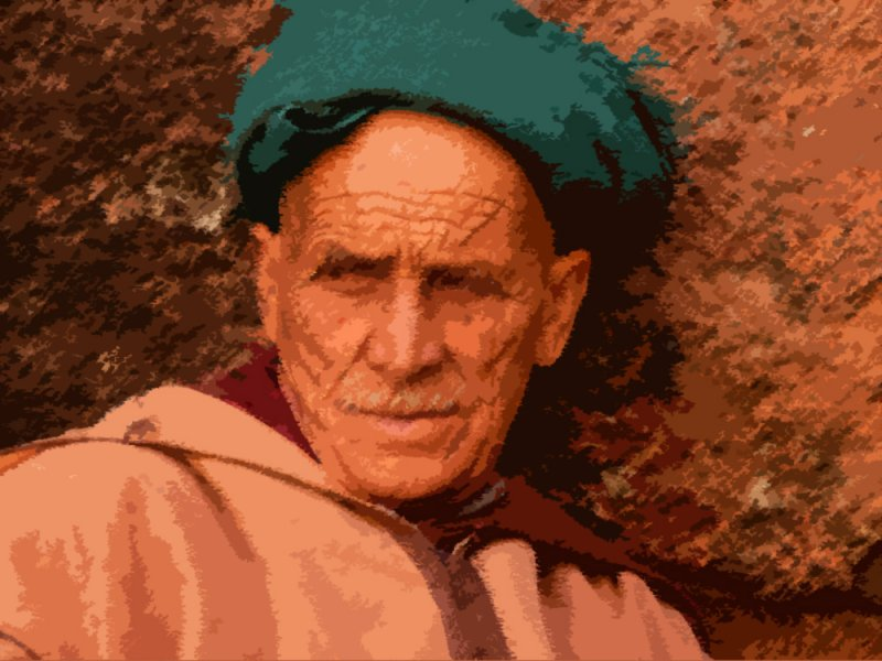 Portrait of a man - rough pastels + cut-out