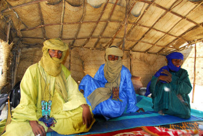 In the tent for tea with Mohamed Agousmane and his family