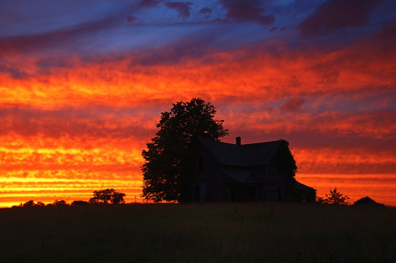 Old Country Home Sunset