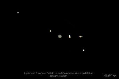 Jupiter with 3 moons, Saturn and Venus
