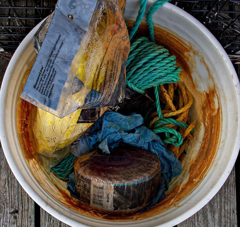 A bucket of nautical stuff.