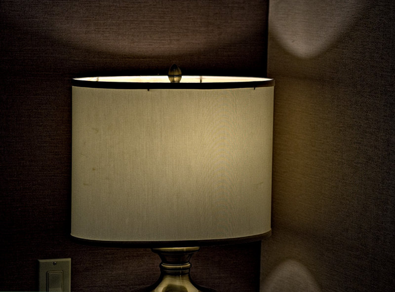 Lamp in a hotel room.