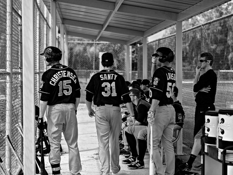 In the dugout - Minnesota Twins Class A Farm Team -  Color version below.