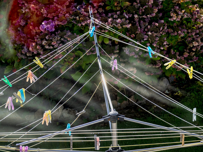 Clothesline with clothespins.