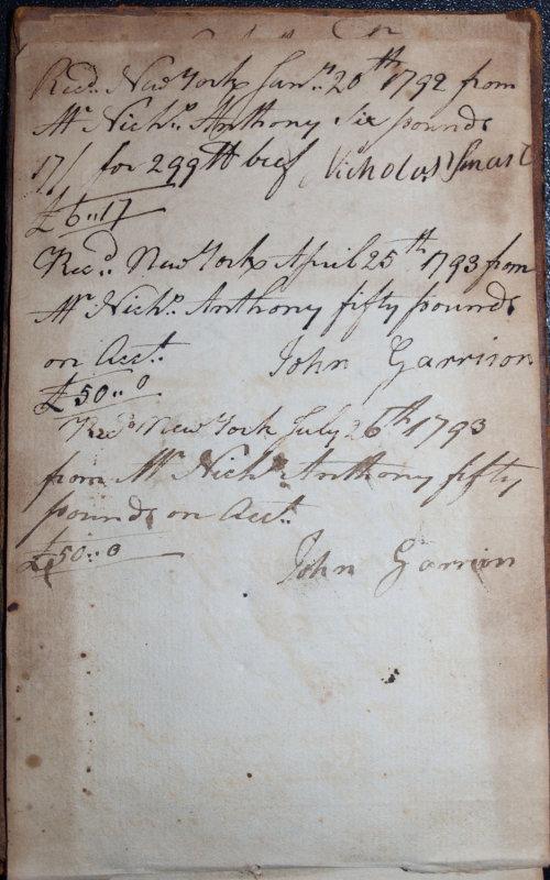 Jan. 20, 1792 - Nicholas Smart / April 25 and July 26, 1793 - John Garrison
