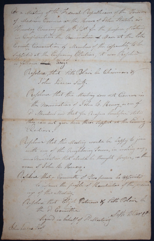 Undated Meetings Notes - Federal Republicans - early 19th century