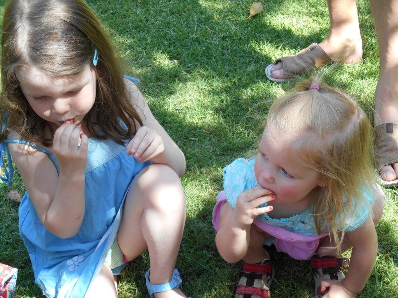 Zacs birthday - burger rings - Saskia and cousin Holly