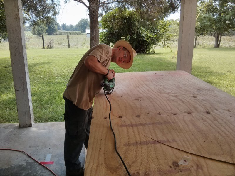 Cutting the roof panels.