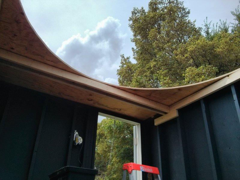 Roof panel installation.