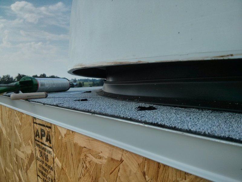 Another view of the garage door seal.