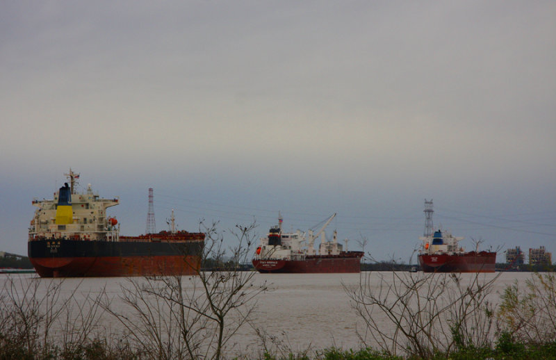 Ships riding high on the swollen Mississippi January 2, 2015