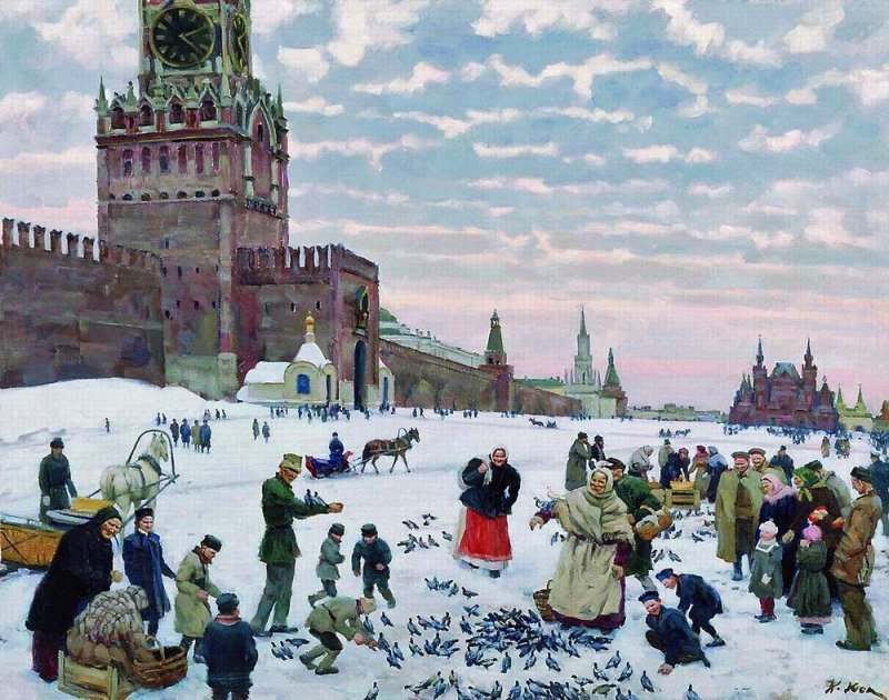 1900 - Feeding of the pigeons on the Red Square