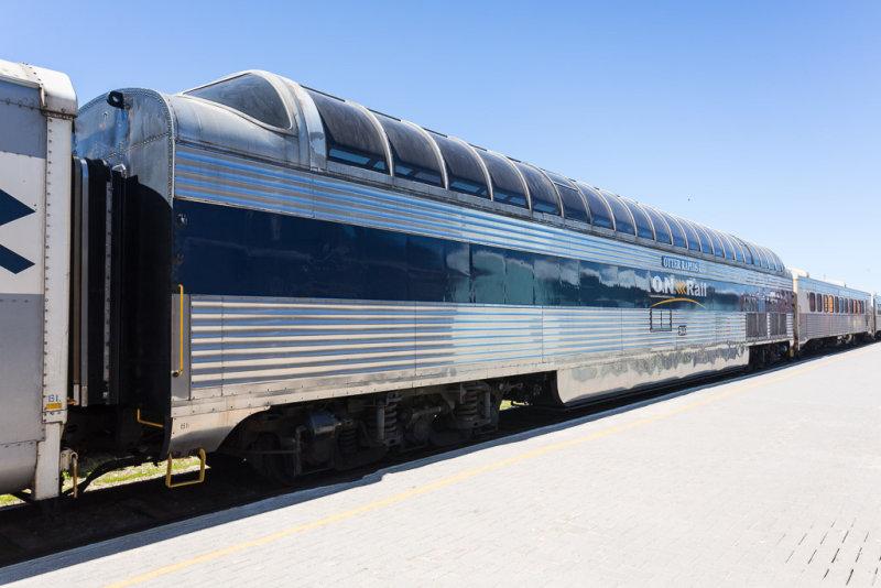 Ontario Northland Railway dome car Otter Rapids 900 in Moosonee.