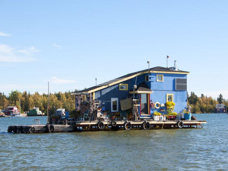 Colourful Boathouse-Yellowknife Bay