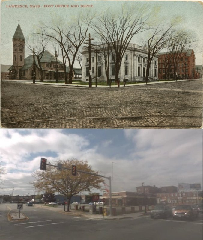 Broadway and Essex - then and now