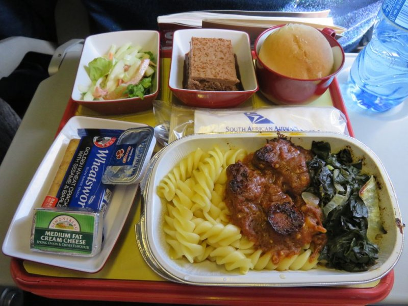 lunch in economy South African airlines Johannesburg to Lilongwe